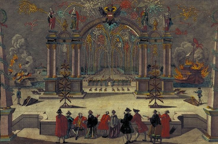Vues d'optique: Celebration with fireworks in honor of Emperor Joseph II (Holy Roman Emperor of the Habsburg dynasty) , ca. 1776.