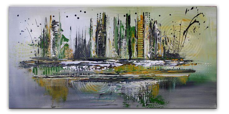 BURGSTALLER Abstraktes Gemälde Outline Wandbild grün ocker grau Malerei Unikat
