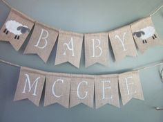 This sweet lamb baby shower banner is made on my 4 x 6 inch natural burlap flags. Super cute lamb design with babys first or last name will set
