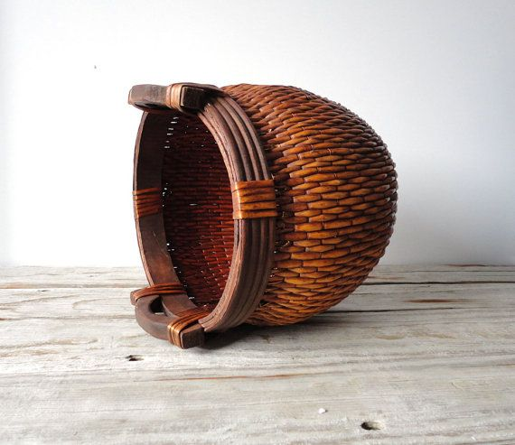 Handwoven Reed Asian Basket with Wooden Handles by OceanSwept, $77.00