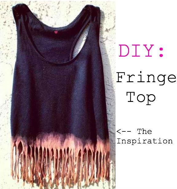 Update an old tee with bleach and scissors. This dip dyed fringe