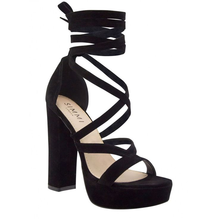 Amelia Black Suede Lace Up Platform Heels : Simmi Shoes - Love ...