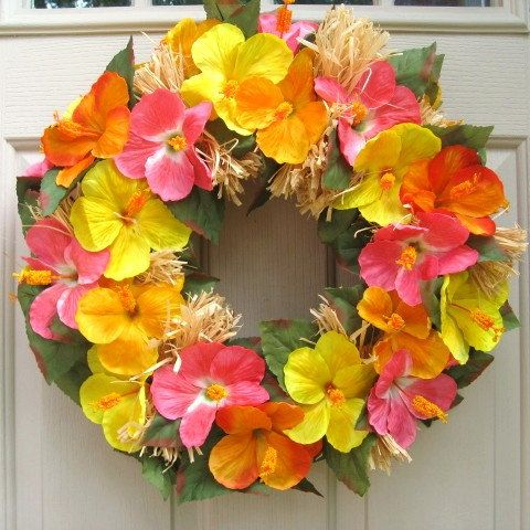 Summer Wreath Hawaiian Luau Wreath Orange Yellow by AWorkofHeartSA, $80.00
