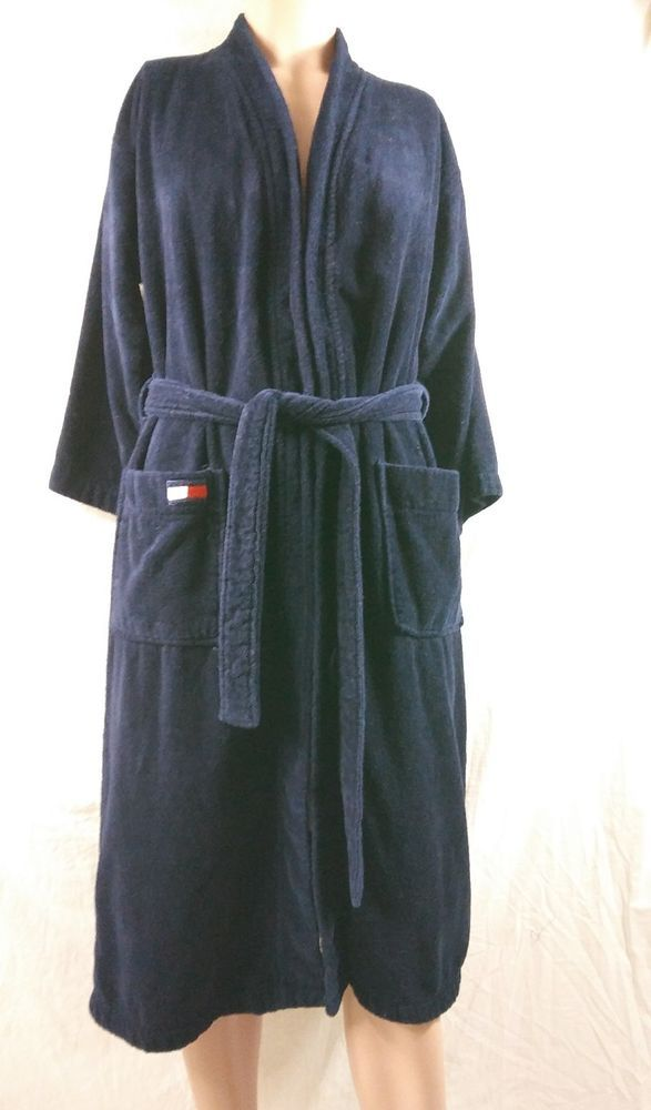 76de78040b2 Tommy Hilfiger Size Small Medium Navy Blue Mens Terry Cloth Bath Robe flag  logo #TommyHilfiger #Robes #bathrobe #sleeprobe