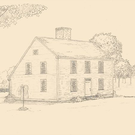 Saltbox house with center chimney plan early new england for Center chimney house plans