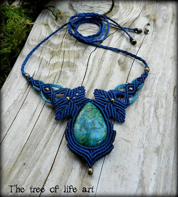 Macrame necklace with Chrysocolla stone/Leaves necklace/Tribal macrame/Festival jewelry/Boho necklace/Micromacrame/Thetreeoflifeart