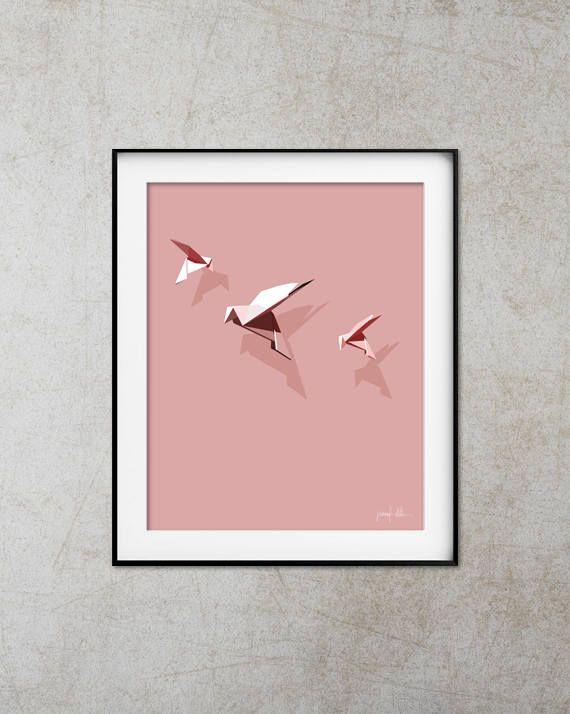 "Nursery pink dove art print Origami bird art Nursery decor USE THE CODE ""HUNKYDORY"" TO RECEIVE 30% OFF!"