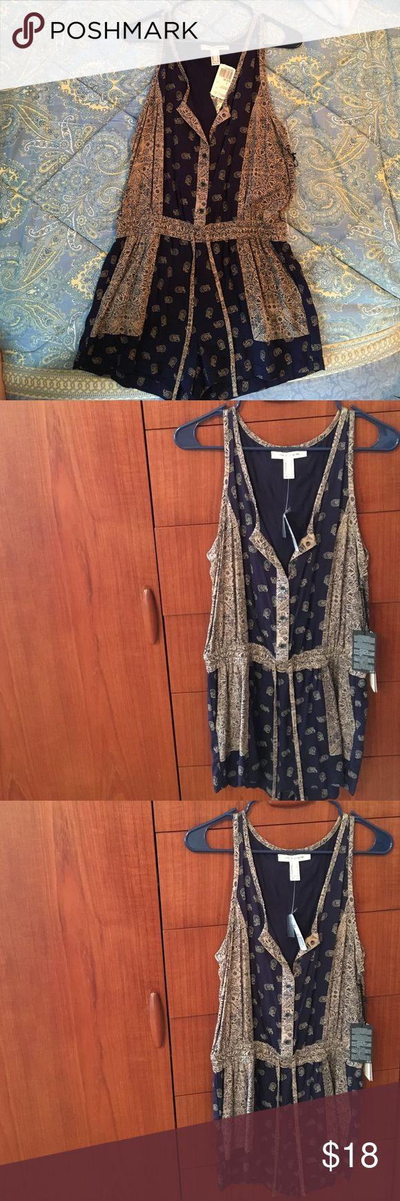 """""""Life in Progress"""" brand navy/tan printed romper This is a navy and cocoa (tan) printed romper from """"Life in Progress"""" brand from Forever 21, it has never been worn before and is a great spring or summer outfit! Forever 21 Other"""