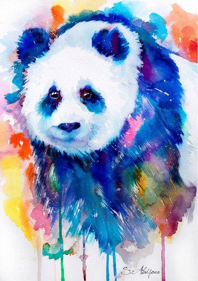 Panda watercolor painting print bear animal by SlaviART on Etsy
