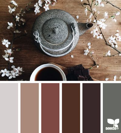 Tea tones: KittyKait!!!! Show to mom. Just an idea. The lighter shades for paint and than pops of the darker colors.