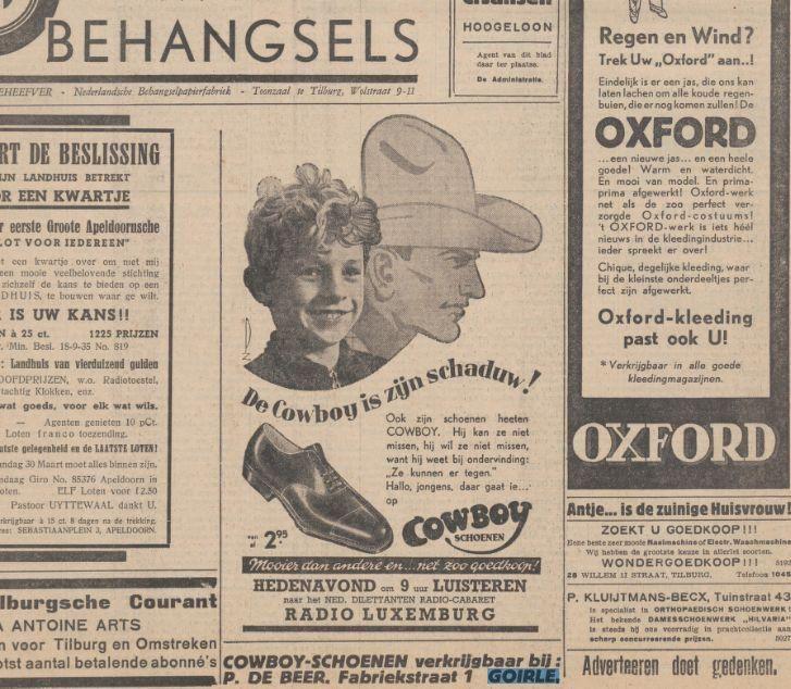 Advertentie Cowboy Schoenen Krantentitel:Nieuwe Tilburgsche Courant Datum, editie:20-03-1936