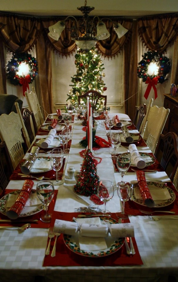 Christmas Dinner Table. Placemats Were Gift Bags From The Dollar Store That  Were Cut In