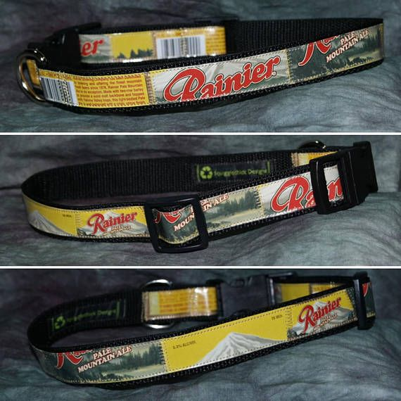 Adjustable Dog Collar from Recycled Rainier Mountain Pale Ale beer labels