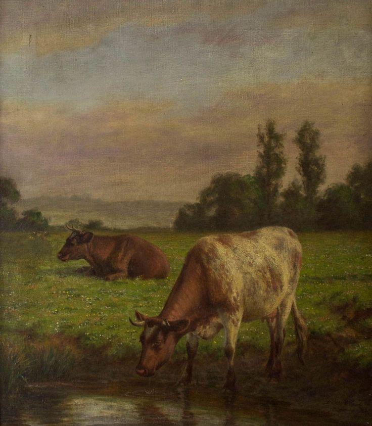 Joseph Dixon Clark - Cows, 19th Century Oil