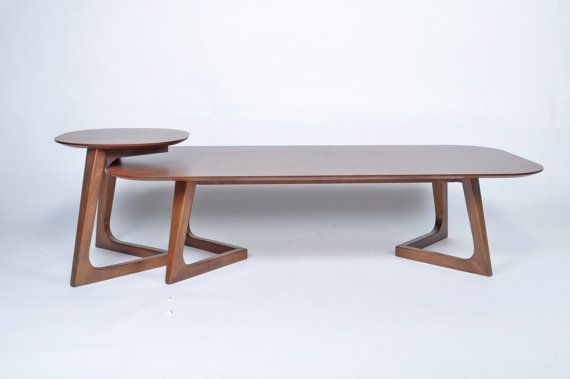 Mid Century Modern Coffee Table Set Wooden Walnut by Tb3homeCrafts