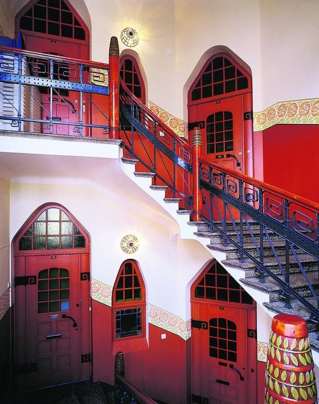 Art nouveau staircase in Töölö, Helsinki, Finland