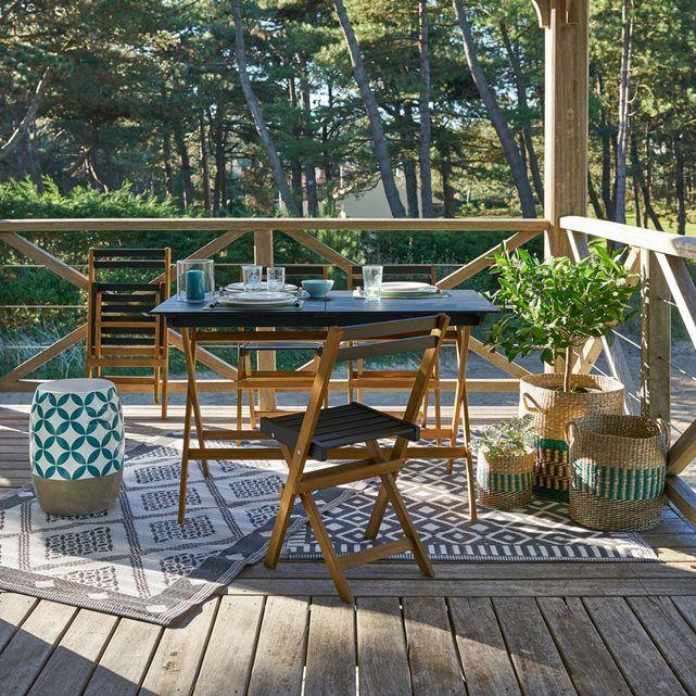 Pratique et joliment dessiné, le mobilier de jardin en acacia naturel Myrton est idéal pour profiter à tout moment du jardin, de la terrasse ou du balcon. Entièrement pliable pour un gain de place optimal.
