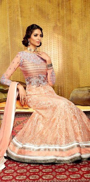 Peach Lace Anarkali Suit