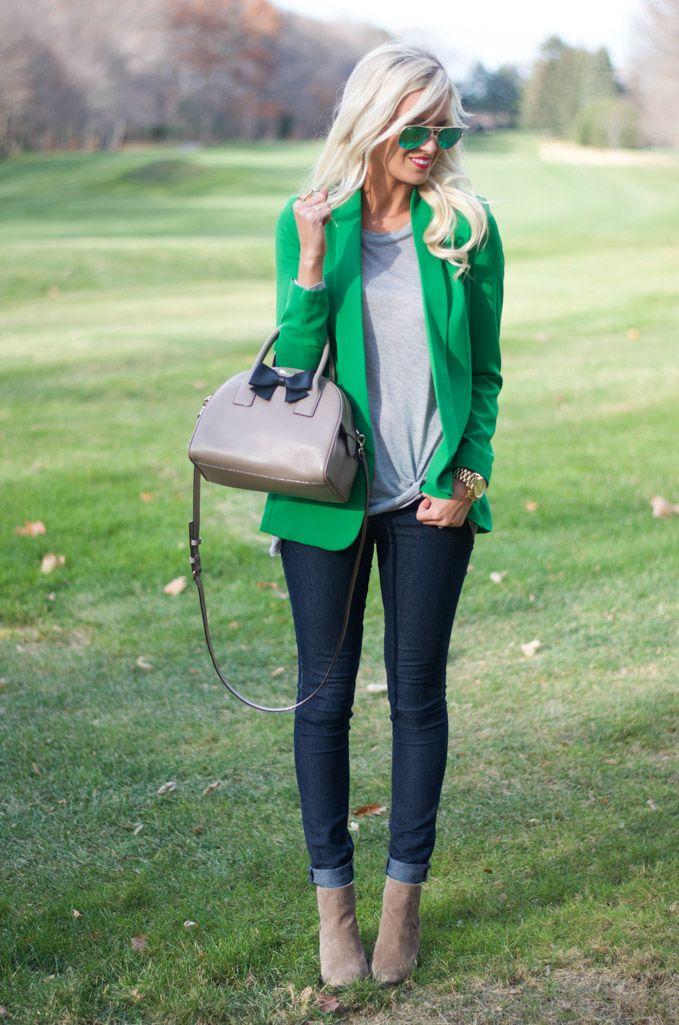 Green Blazer, Dark Jeans and Neutral Top