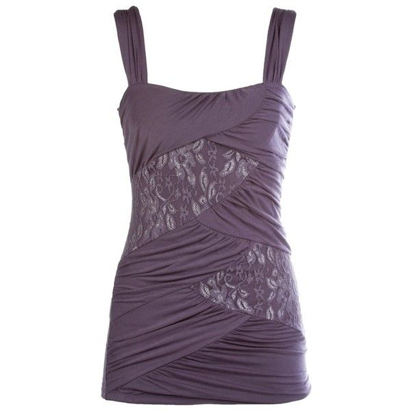 Lurex Lace Criss-Cross Tank (36 CAD) found on Polyvore featuring tops, shirts,