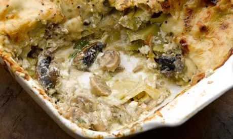 Mushroom lasagne. The photo doesn't do this justice. The four cheeses add incredible flavor.