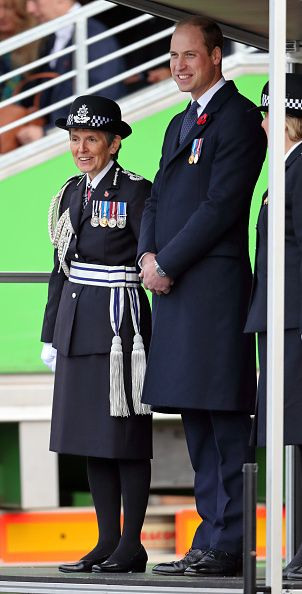 Prince William, Duke of Cambridge accompanied by Cressida Dick, Commissioner of the Metropolitan Police attends the Metropolitan Police Service Passing Out Parade for new recruits at the Metropolitan Police Service Training College, Hendon on November 3, 2017 in London, England.