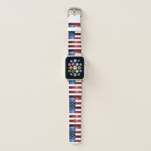 USA flag red blue sparkles glitters pattern Apple Watch Band by #PLdesign #sparkles #USASparkles #4thofJuly #SparklesGift #zazzle