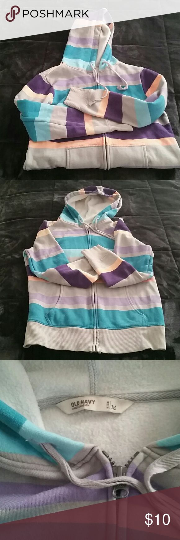 Retro striped hoodie Medium Old Navy hooded zipup sweatshirt featuring wide stripes of gray, aqua, salmon, and lilac.   Used, good condition Old Navy Tops Sweatshirts & Hoodies