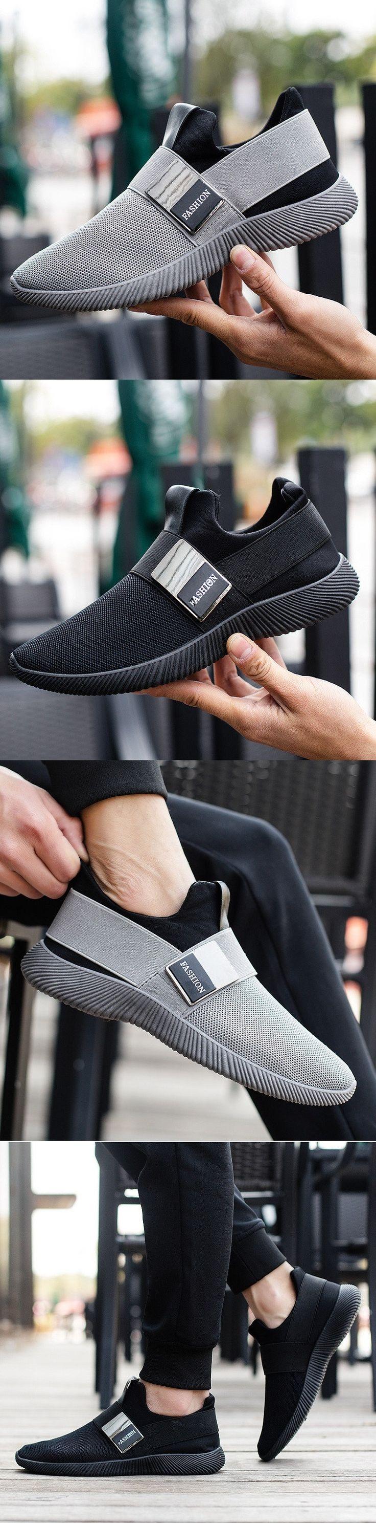 Men Stretch Mesh Fabric Elastic Panels Metal Decoration Sport Running Sneakers – John Leonard