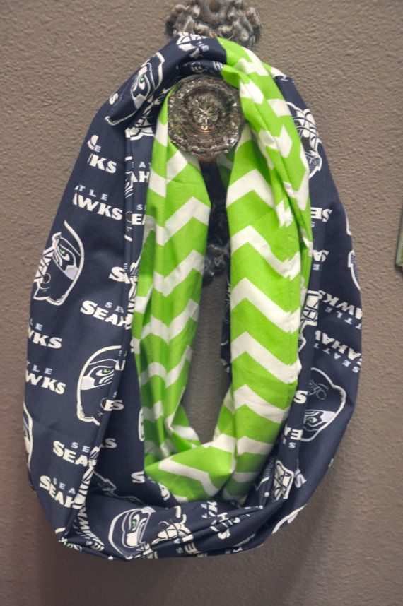 Seattle Seahawks infinity scarf omg @Cassandra Dowman Dowman Dowman Cassandra that's awesome I so want this!