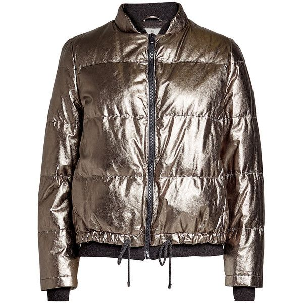 Brunello Cucinelli Metallic Leather Quilted Jacket ($6,995) ❤ liked on Polyvore featuring outerwear, jackets, silver, brown leather jackets, brunello cucinelli jacket, metallic jacket, metallic leather jacket and brown quilted jacket
