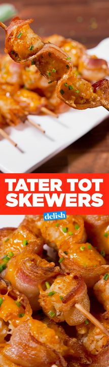 Tater Tot Skewers = easiest game day app ever. Get the recipe from Delish.com.