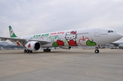 Eva Air!! The new planes are painted on both sides with Hello Kitty and friends in three different themes – Hello Kitty Magic, Hello Kitty Apples and Hello Kitty Around the World.