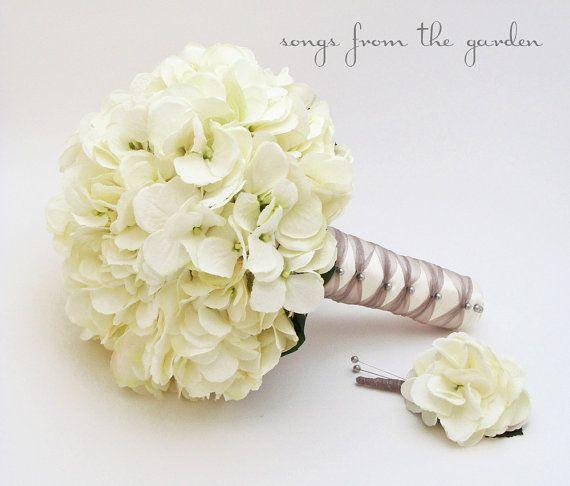 Wedding Bouquet White Silk Hydrangea Groom's by SongsFromTheGarden, $90.00