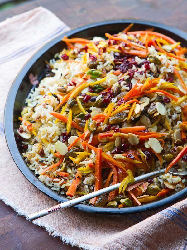 Iranian Jeweled Rice :: basmati, orange rind, dried barberries, saffron, orange blossom water, almonds, pistachios, raisins, cinnamon and cardamom.