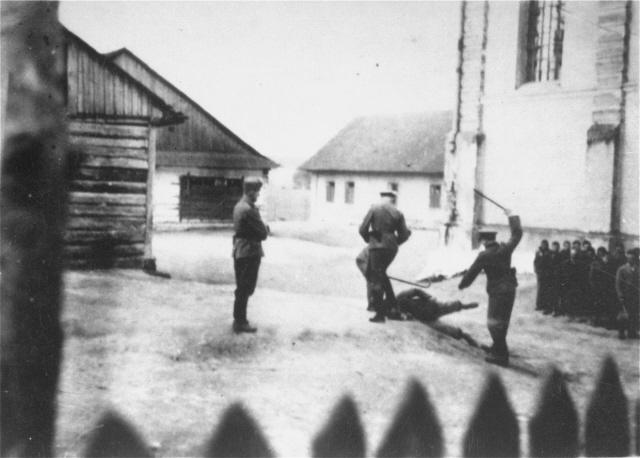 Camp guards beat a prisoner at the Cieszanow labor camp.: History, Labour Camps, Holocaust Wwii, Guard Beats, Camps Guard, Labor Camps, Cieszanow Labor, War, Cieszanow Labour