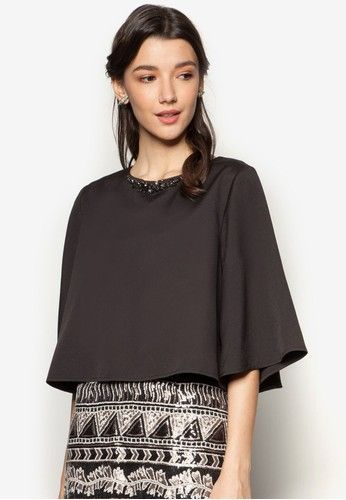 Embellished Wide Sleeve Swing Top from Zalia in black_1