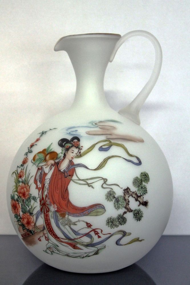 "Bristol Style Frosted Glass Asian Pitcher Vase Hand Painted Made in Italy 13"" #Asian #unknown"