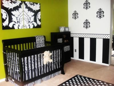 Damask Nursery Wall Decorations - Black and White Damask Wall Hangings and Decals Arrangement.  Green wall paint accented by black and white striped wall painting technique.