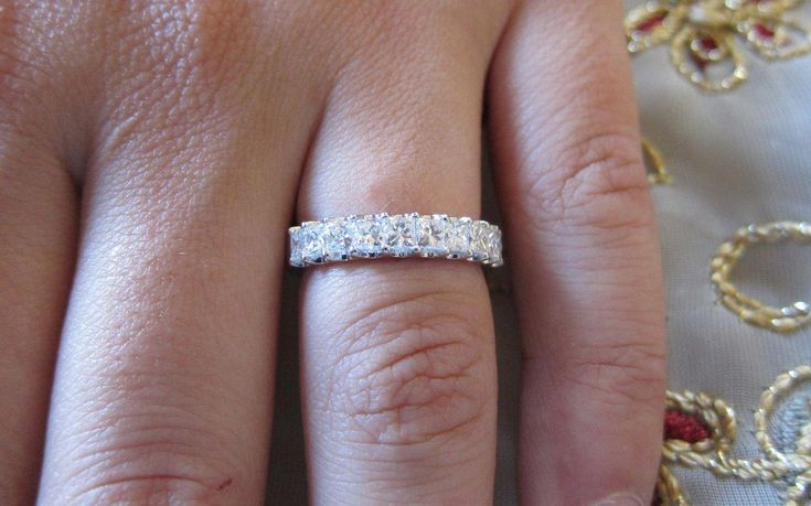 Common Prong Princess Cut Wedding Band By Eternaltouch On Etsy