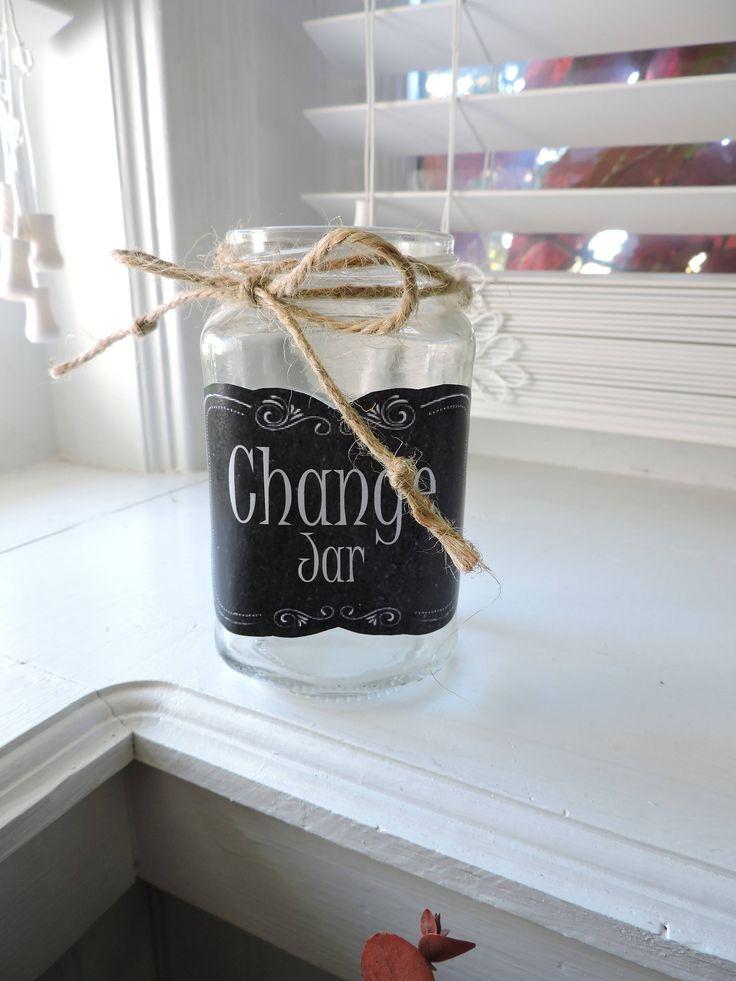 Glass Change Jar | Coin Jar | Womens Gifts | Kitchen Decor | Laundry Room Accessories | Kitchen Storage Jar | Laundry Room Decor by MonikasBoutique on Etsy https://www.etsy.com/listing/561825471/glass-change-jar-coin-jar-womens-gifts