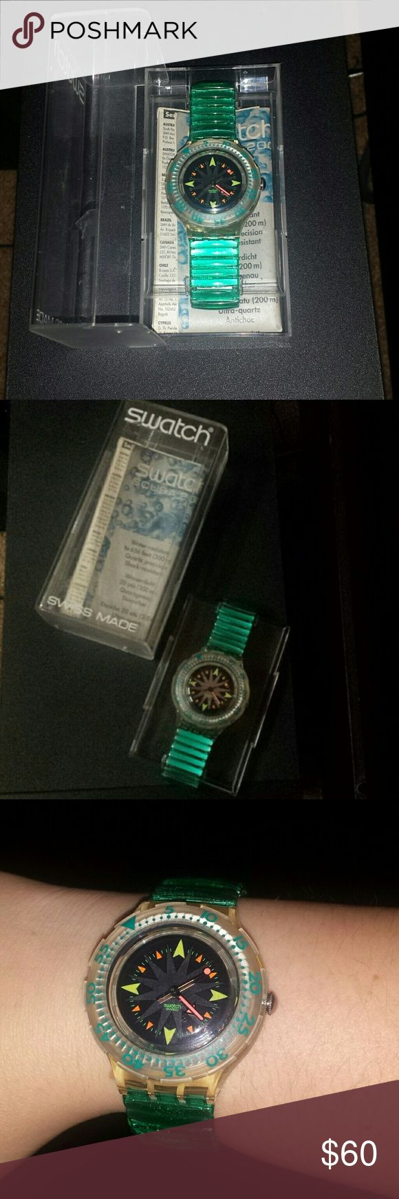 Swatch Scuba 200 Mint Drops Jelly Bean Band Watch 1993 Vintage new in box with original instructions and working battery.  Excellent condition band and face. No scratches on watch. Beautiful star burst pattern. Swiss made, water resistant 20 bar dive.    SDK108 SDK109 Mint Drops Swatch watch Swatch Accessories Watches