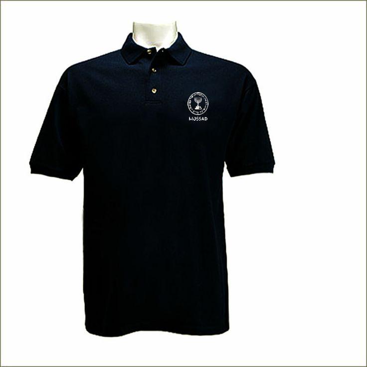 Mossad israeli intelligence agency polo style black graphic t shirt by mycooltshirt on Etsy