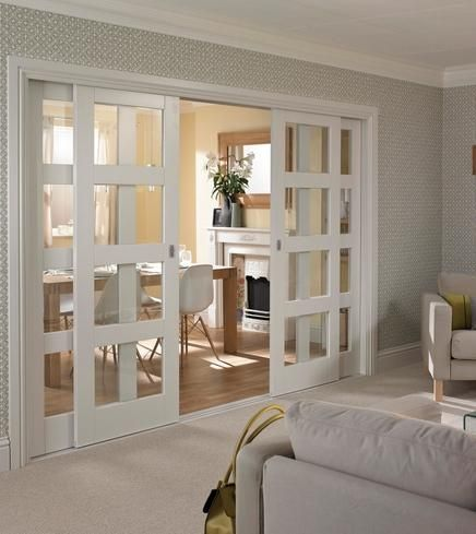 Sliding Doors From Living To Kitchen/ Diner Primed 4 Panel Shaker Glazed
