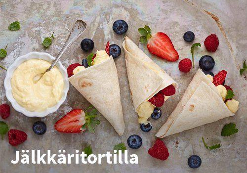Jälkkäritortilla, Resepti: Valio #kauppahalli24 #jälkiruoka #tortilla #resepti #ruokaidea #verkkoruokakauppa