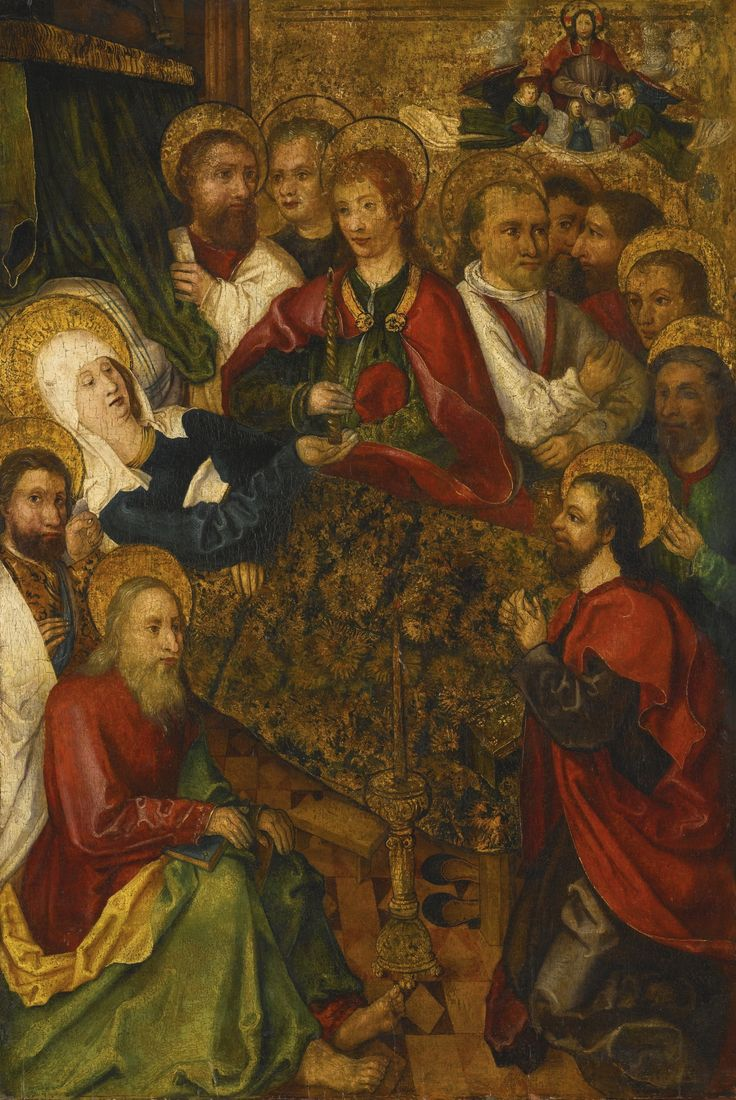 South German School, early 16th century THE DEATH OF THE VIRGIN oil on panel, unframed 70.2 by 48.1 cm.; 27 5/8  by 19 in.: