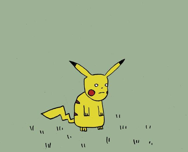Sad Pikachu In A Field