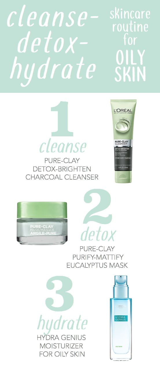 Cleanse, detox, hydrate skincare routine for oily skin. First cleanse with new Pure-Clay charcoal face cleanser. Pat face dry and then apply an even layer of Pure Clay eucalyptus face mask. Leave on for 10 minutes, wash off. Follow with Hydra Genius moisturizer for oily skin.