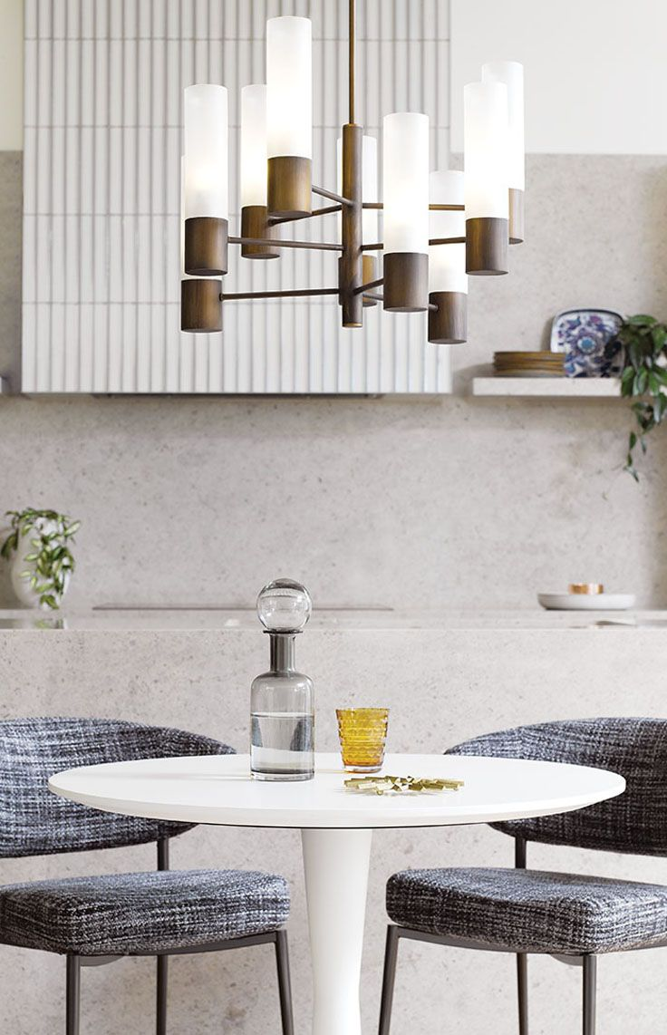 The Beacon Lighting Rochelle 9 light pendant in brushed bronze and opal diffuser