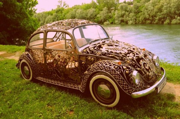 Volkswagen Beetle Covered with Wrought Iron Gate Designs